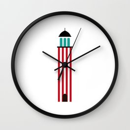 Lighthouse in red an white Wall Clock
