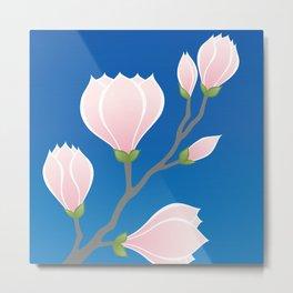 Pink Magnolia, Flowering Branch Metal Print
