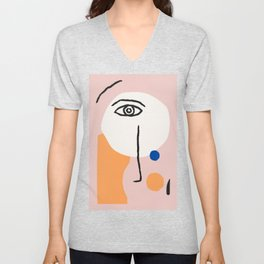 Abstract Art, Line Portrait, Matisse Picasso Style, Neutral Red Abstract Print, Line Drawing, Line D Unisex V-Neck