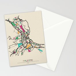Colorful City Maps: Palermo, Italy Stationery Cards