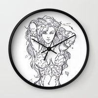 poison ivy Wall Clocks featuring Poison Ivy by Leamartes