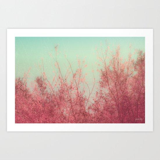 Harmony (Mint Blue Sky, Coral Pink Plants) Art Print