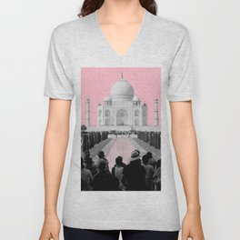 Taj Mahal with pink Unisex V-Neck