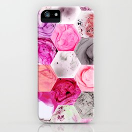 Pink Marbled Hexies iPhone Case