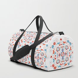 Folkloric Lovebirds Textile Pattern Duffle Bag