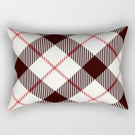 White Tartan with Diagonal Black and Red Stripes Rectangular Pillow