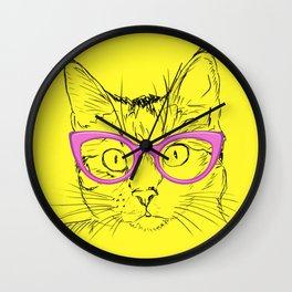 Hipster Stylish Cat Wall Clock