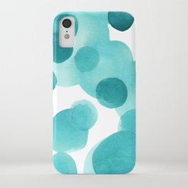 Aqua Bubbles: Abstract turquoise watercolor painting iPhone Case