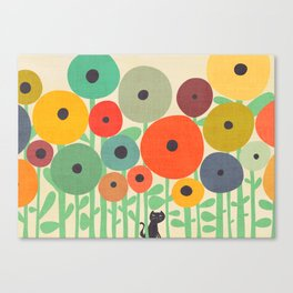 Cat in flower garden Canvas Print
