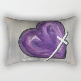 Grace Heart Purple Gray Rectangular Pillow