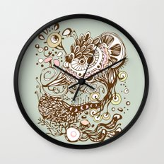 Zentangle green flower roots doodle Wall Clock