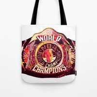 nba Tote Bags featuring NBA CHAMPIONSHIP BELT by mergedvisible