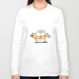 Handdrawn and Colored Cat Dog the Cartoon Long Sleeve T-shirt