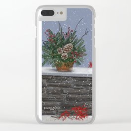 Birds and bunnies on a winter wall holiday scene Clear iPhone Case