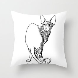 Sphynx Cat Illustration - Sphynx - Cat Drawing - Naked Cat - Wrinkly Cat - Black and White Throw Pillow