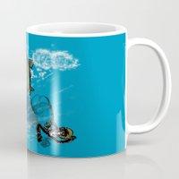 baloon Mugs featuring pufferfish baloon by MR. VELA