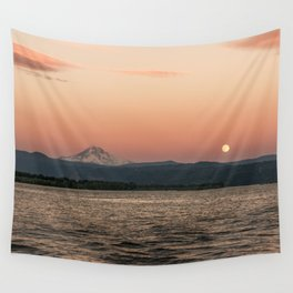 Mt. Hood Moonrise at Sunset Wall Tapestry