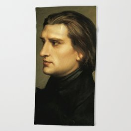 Franz Liszt (1811-1886) at 29. Painting by Charles Laurent Marechal (1801-1887). Beach Towel