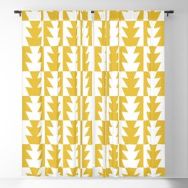 Art Deco Jagged Edge Pattern Mustard Yellow Blackout Curtain