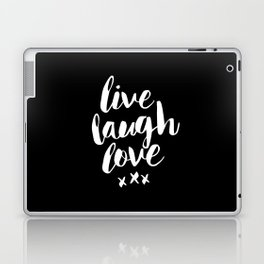Live Laugh Love black and white monochrome typography poster design home wall decor canvas Laptop & iPad Skin