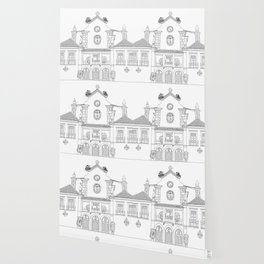 Storks on the Roof - Line Art Wallpaper