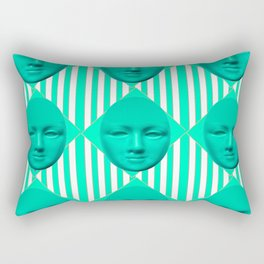 CONTEMPORARY TURQUOISE MOON FACE & STRIPES ART Rectangular Pillow