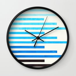 Cerulean Blue Minimalist Abstract Mid Century Modern Staggered Thin Stripes Watercolor Painting Wall Clock