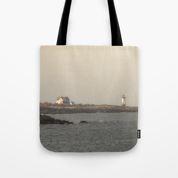 Hazy Straitsmouth lighthouse Tote Bag