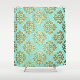 "Cool Blue ""Formica"" with Gold Tile Digital Design Shower Curtain"