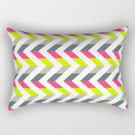 Neon Strawberry - Chevron Geometric Pattern Rectangular Pillow