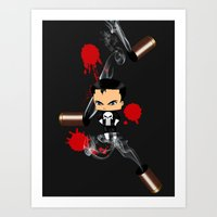 punisher Art Prints featuring Chibi Punisher by artwaste