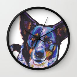 Australian Cattle Dog Portrait blue heeler colorful Pop Art Painting by LEA Wall Clock