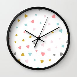 Cute colorful pastel triangles pattern Wall Clock