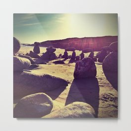Stones on Perranuthnoe Beach Metal Print