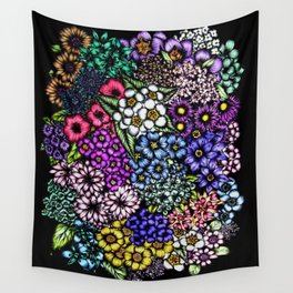 Midnight Blossoms Wall Tapestry