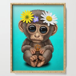 Cute Baby Monkey Hippie Serving Tray