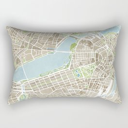 Boston Sepia Watercolor Map Rectangular Pillow