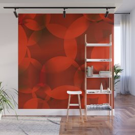 Abstract soap of orange molecules and transparent bubbles on a red background. Wall Mural