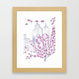 Cherry Blossom Tree Spring in New York City NYC Gathering of Lines Framed Art Print
