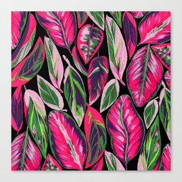 Pink leaves pattern Canvas Print