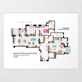 Apartments of Will Truman, Grace Adler and Jack - Floorplan Art Print