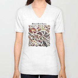 Moths of North America Unisex V-Neck