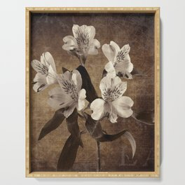 Vintage Flowers Digital Collage 19 Serving Tray