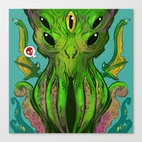 cthulu Canvas Prints featuring Cthulhu by Tyler Lederer