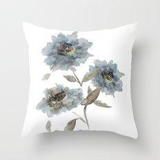 watercolor Dahlia blue Throw Pillow
