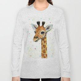 Baby-Giraffe-Nursery-Print-Watercolor-Animal-Portrait-Hearts Long Sleeve T-shirt