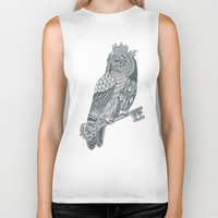 king Biker Tanks featuring Owl King by Rachel Caldwell