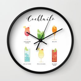 Coktails Wall Clock
