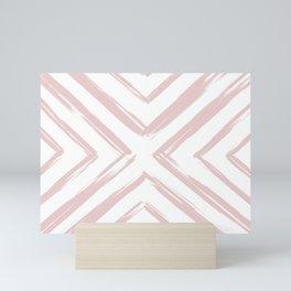 Minimalistic Rose Gold Paint Brush Triangle Diamond Pattern Mini Art Print
