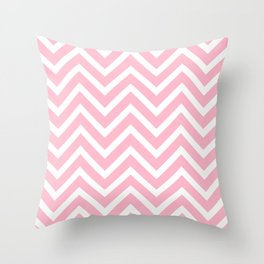 Chevron Stripes : Pink & White Throw Pillow